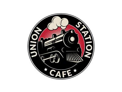 Union Station Cafe station cafe train sketch design logo