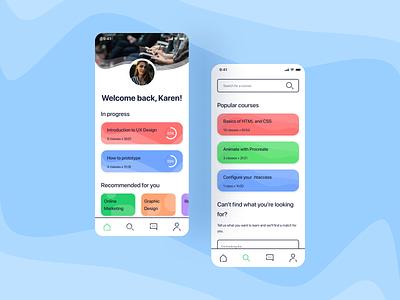 iLearn: Learning app concept typography vector ios app design app minimal icon ux ui design figma