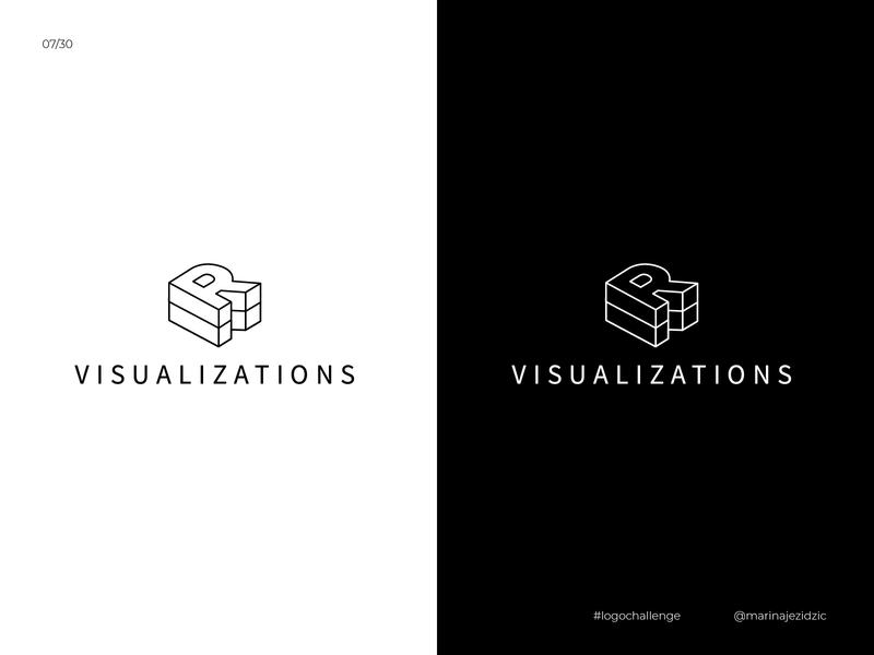 The 30 Day Logo Challenge 7 - R Visualization logochallenge logocore white black illustrator identity branding logo design