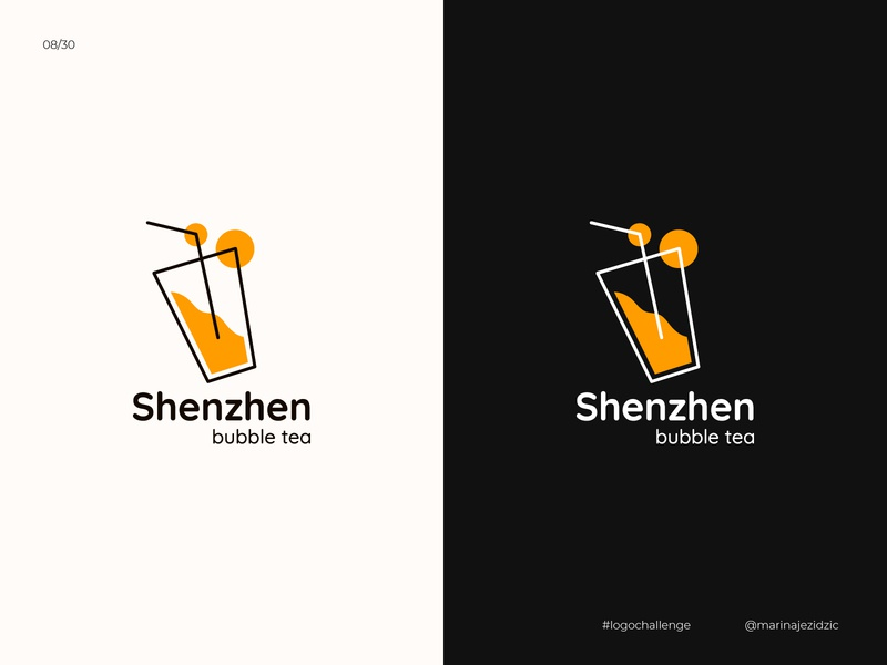 The 30 Day Logo Challenge 8 - Shenzhen Bubble Tea logochallenge logocore white black illustrator identity branding logo design