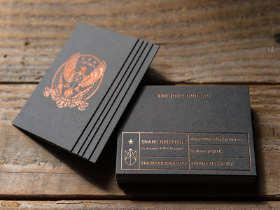 The Idea Bureau Business Cards print gfsmith detective agency design cooper grey foil colorplan