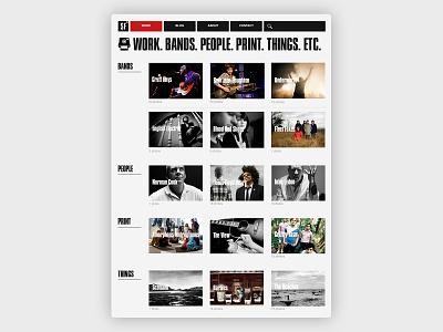 Work page typography photogaphy web design website design
