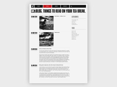 Blog page typography photogaphy web design website design