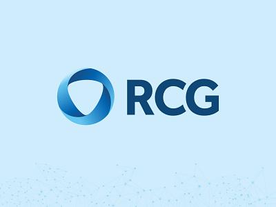 RCG Global Services rcg wordmark triangle circle vector design branding blue logo