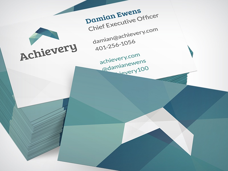 Achievery Business Card achievery blue branding green layers logo business card identity double-sided