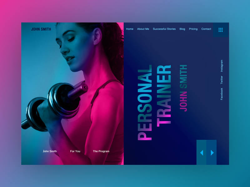 Personal Trainer Page Mockup gradient color marketing web design bowwe ui illustration design modern web business graphic design gym fit weight lifting fitness personal trainer