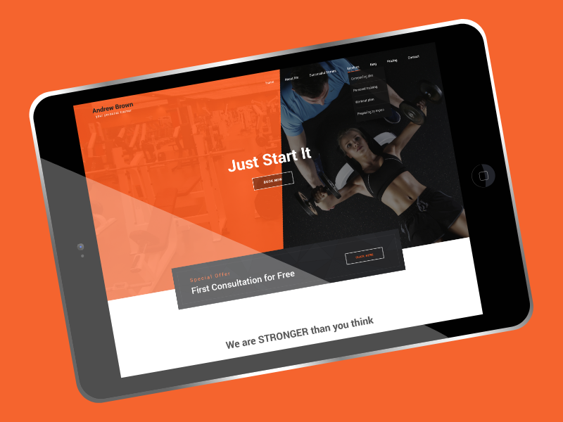 Personal Trainer - BOWWE Website Template design personal trainer fitness workout trainer website layout website website design training web theme graphicdesigners uxdesign ux web template website builder personaltrainer gym ui web design graphic design