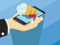 Concept of buying ice cream with a smartphone
