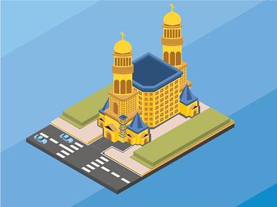isometric Catholic golden church, vector illustration protestant catholic isometric illustration vector church