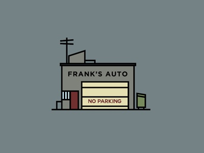 Frank's Auto boards sketchtovector lines shapes colors fromthefieldnotes franksauto buildingvectors autoshop inthecity