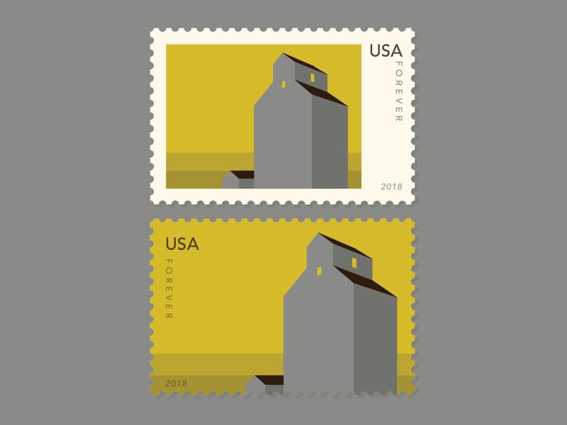 Grain Elevators - Stamp Series - Small Town USA #2