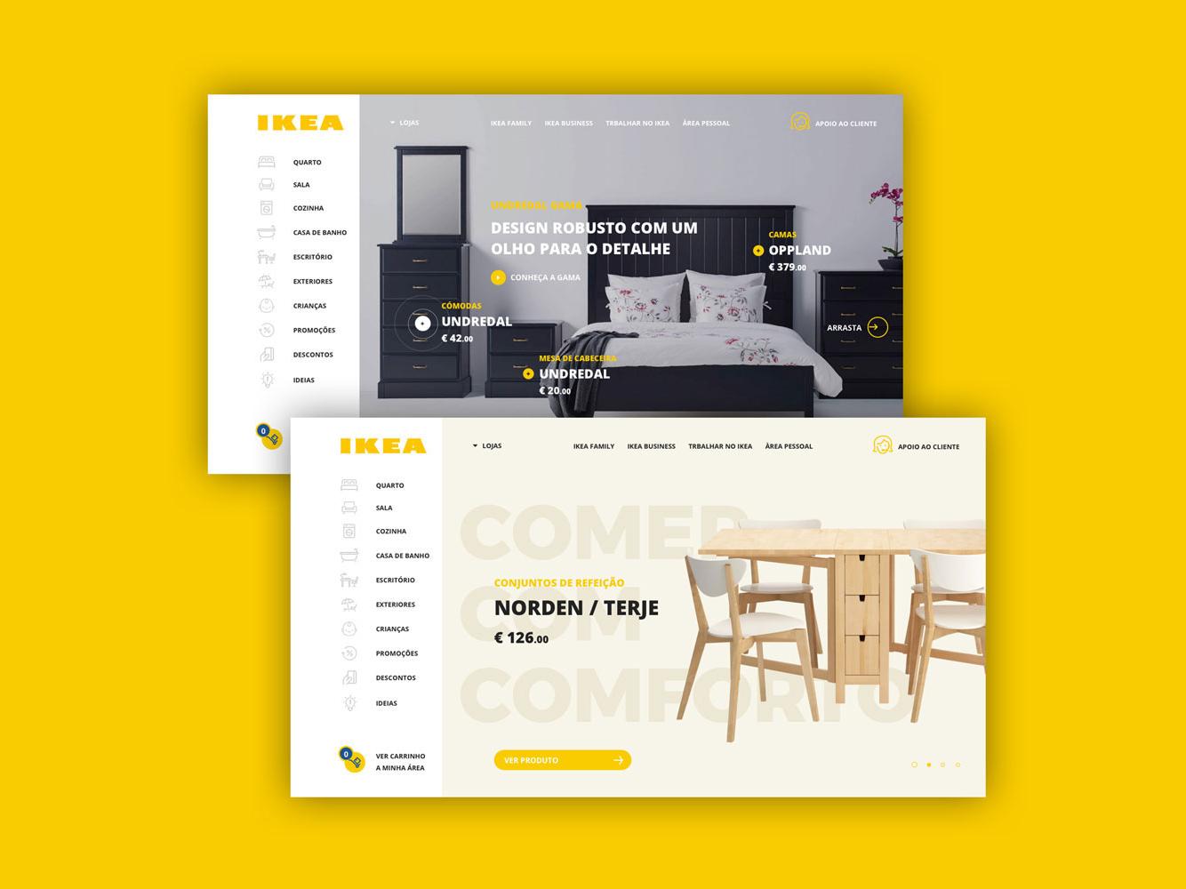 Ikea mobile illustrator clean art illustration animation responsive minimal website web ux ui flat design app