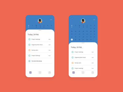 Calendar for to do list web todo list todolist todo app todo flat ux ui minimal design app