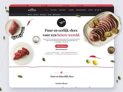 Vleesch & Co Homepage design web design website design make it max makeitmax meat shop ux design ui design visual design user interface webdesign webshop meat ux agency website ui design
