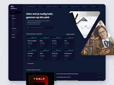 Aandelen.nl website redesign cryptocurrency crypto stock stock market ui design ui agency ux design visual design make it max design