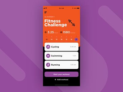 UI Daily, #041 – Workout Tracker workout tracker fitness app fitness sport app sport dailyui uidaily ux app ui design