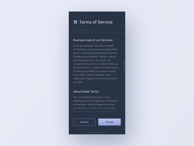 UI Daily, #089 – Terms of Service terms of service app ux dailyui uidaily ui design