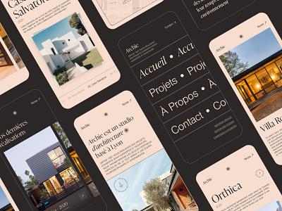 Architecture Studio Responsive Website Concept - Archie serif font serif architecture architect ui design sketch mobile ui mobile