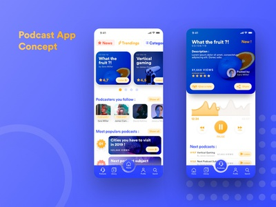 Uplabs Challenge - Podcast App Concept sketch concept design podcast ui ui design concept