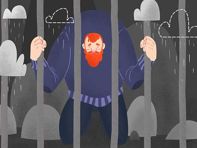 A raining jail minimalism illustration illustration art illustration illustrator minimalism minimalistic minimal jail raining