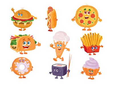 Fast food icon set flat character concept illustrator design vector art illustration