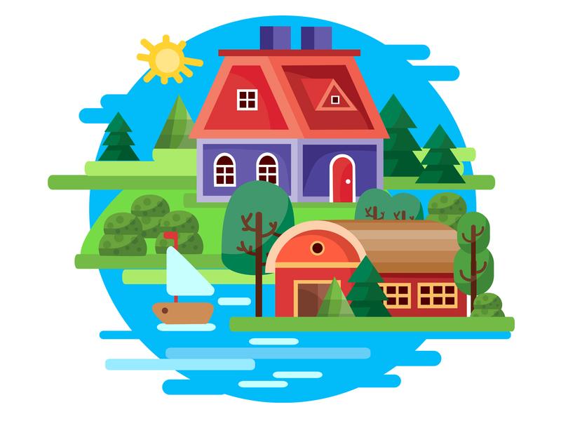 Island houses concept design flat vector illustration art illustraion illustrator island house