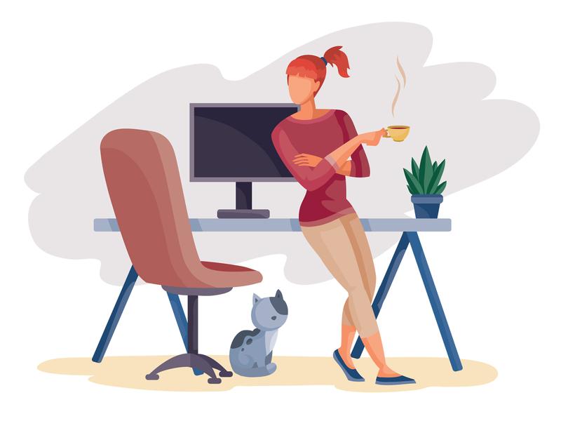 Break freelance people freelancer business flat character concept illustrator design art vector illustration