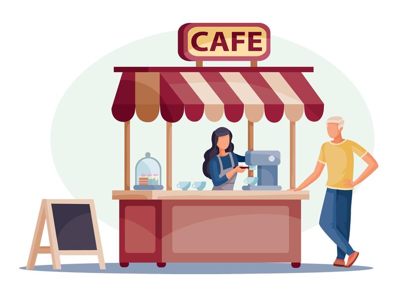 Cafe people business flat character concept illustrator design art vector illustration