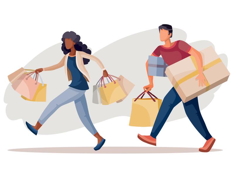 shopaholics shopping people flat character concept illustrator design art vector illustration