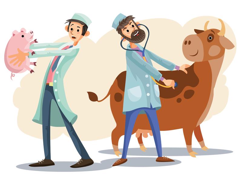 Veterinarians pet animal people flat character concept illustrator design vector art illustration