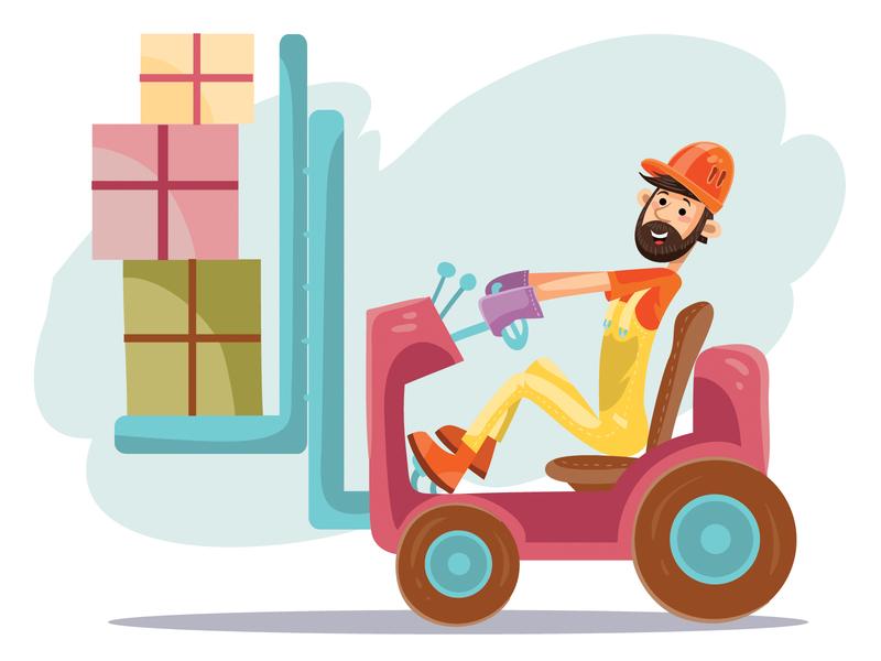 forklift people business flat character concept illustrator design art vector illustration
