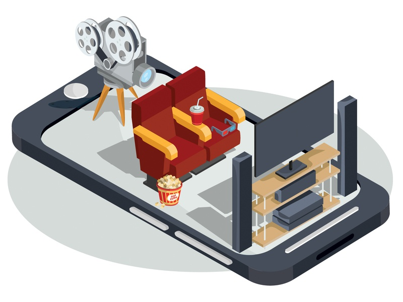 mobile cinema cinema mobile isometric business infographics concept illustrator design art vector illustration