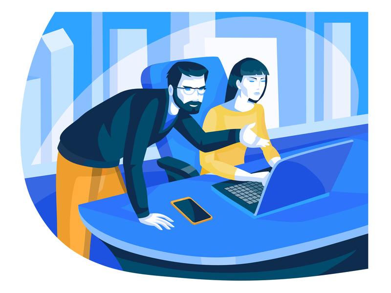 Developers webillustration people business character illustrator design art vector illustration