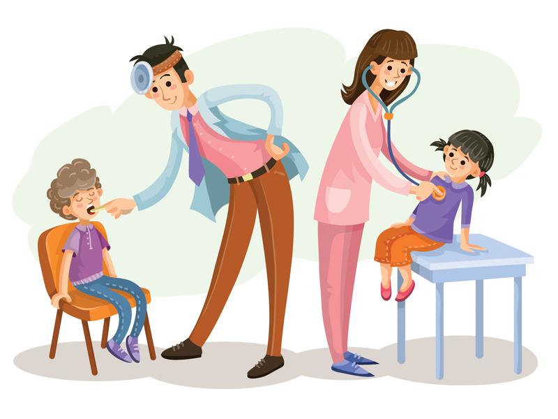 medical checkup kids medicine people flat character illustrator design art vector illustration