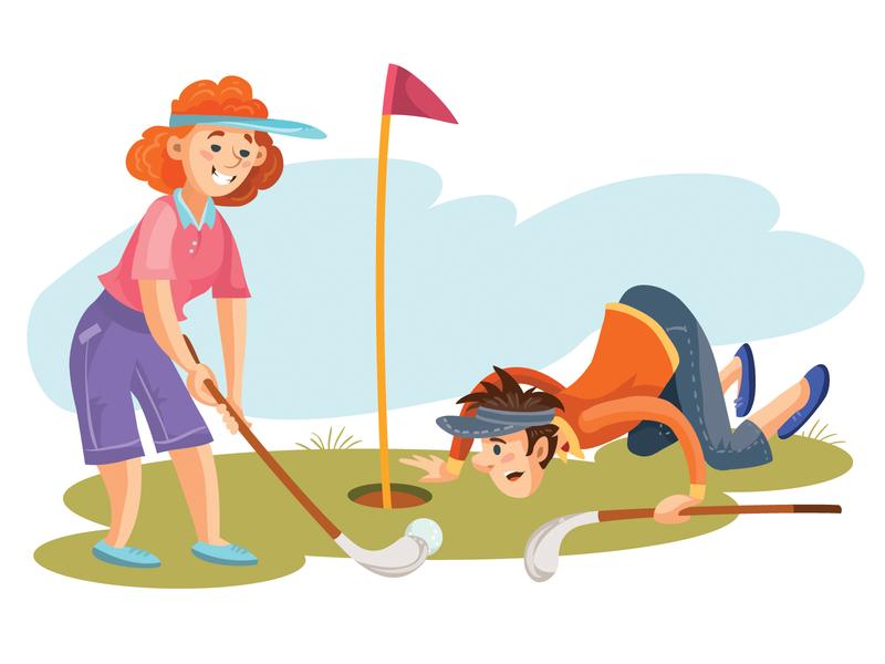 golf game golf game business flat character illustrator art vector illustration