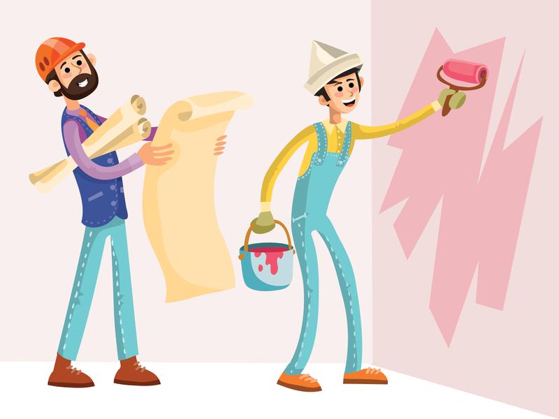 repairing flat people business flat character concept illustrator design art vector illustration