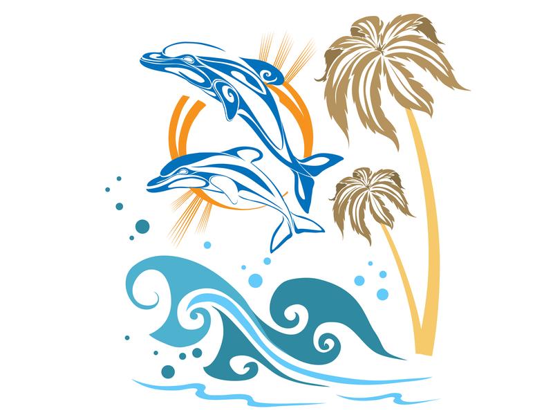 Dolphins see animals graphic concept illustrator design art vector illustration