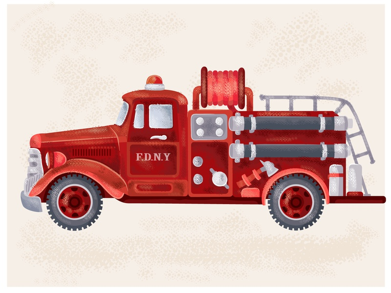 Vintage fire truck fire truck vintage print poster retro truck car flat illustrator art vector illustration