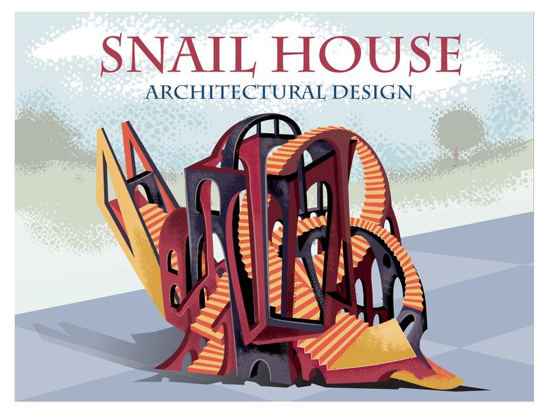Snail house architecture cover branding flat concept illustrator design art vector illustration