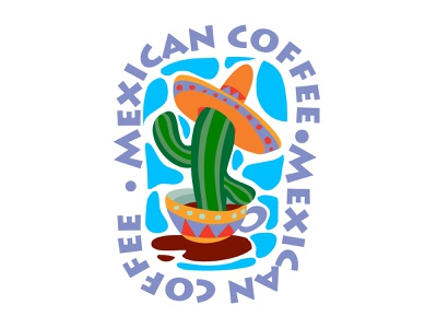 Mexican coffee logo business flat character concept illustrator design art vector illustration