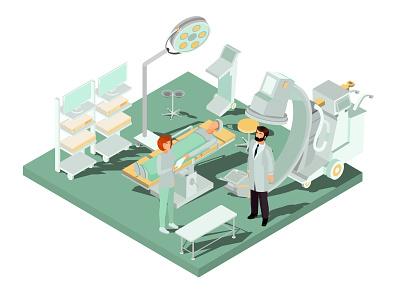 Clinic concept illustrator medicine people flat character isometric design art vector illustration