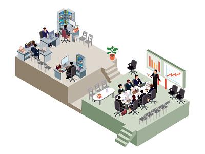 Office work isometric infographics people business flat concept illustrator design art vector illustration