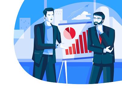 Presentation people business flat character concept illustrator design art vector illustration