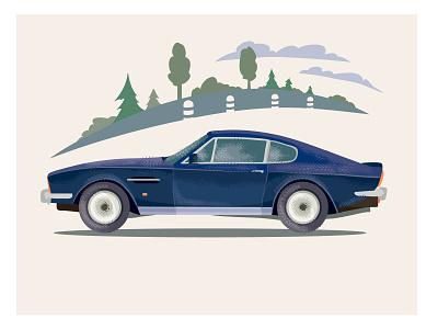Muscle Car poster print vintage retro car illustrator design vector art illustration