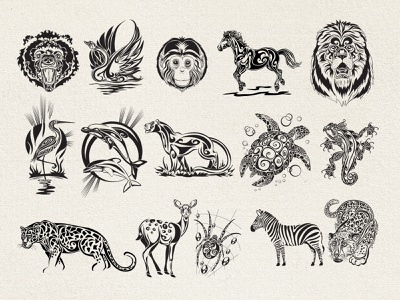 Animals set kit animals ink tattoo design vector logo print branding illustration