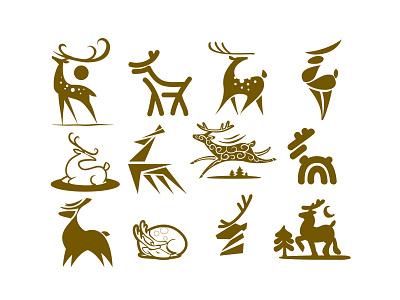 Deer holiday animal deep flat illustrator concept vector logo branding