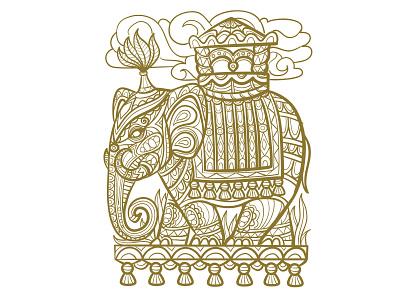 Elephant print doodling lineart logo branding illustrator design art illustration vector
