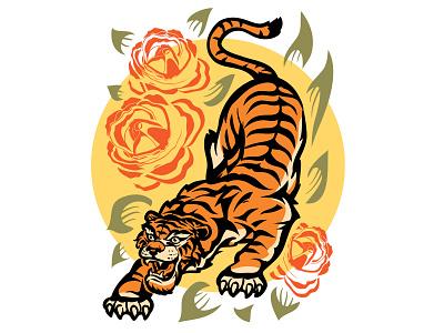 Tiger and Roses tiger animal tattoo branding logo concept illustrator design art illustration vector