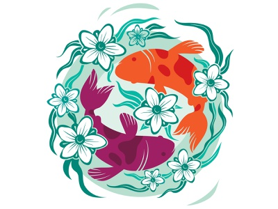 Fish in  Pond logo flat concept illustrator design art illustration vector