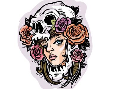 Girlskull tattoo branding people flat character concept illustrator design art illustration vector